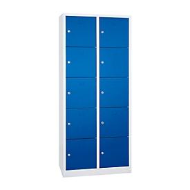 Columna de casilleros de seguridad, 10 compartimentos, cerradura de cilindro, altura 1900mm, gris luminoso/azul genciana