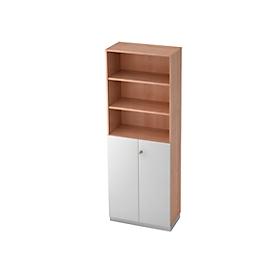 Combi-boekenkast, 6 OH, 3 open vakken + 2 afsluitbare deuren, B 800 x D 420 x 2210 mm, notenhoutdecor/zilver