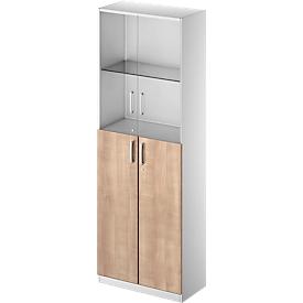 Combikast TETRIS SOLID, 6 ordnerhoogten, glazen deuren en vleugeldeuren, B 800 mm, afsluitbaar, glas/beukenpatroon/blank aluminium