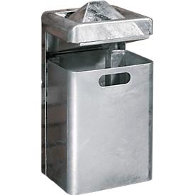 Combinación cenicero/basura de pared, 35 litros, galvanizado