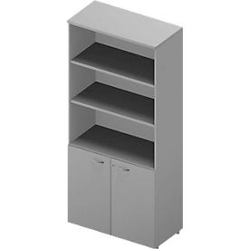 Combinación de estantería y armario ARLON OFFICE, 5 alturas de archivo, An 900 x P 450 x Al 2000mm, gris luminoso/aluminio