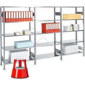 Complete aanbieding 1 basis stelling en 2 aanbouwstellingen, gratis rolkrukje