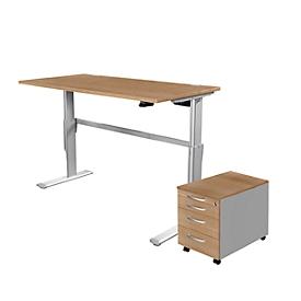 Complete set sta-/zittafel standaard + verrijdbaar ladeblok 1233, kersen-Romana-patroon