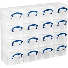 Conjunto organizador Really Useful Box, 16 cajas de 0,14l, transparente, de PP