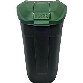 Container met wielen, B 510 x D 530 x H 850 mm, 100 liter, antraciet met groen deksel