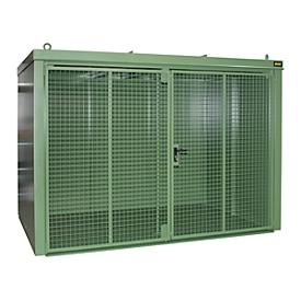 Contenedor de bombonas de gas BAUER GFC-B M5, An 2175 x P 3125 x Al 2270, para 96 bombonas de gas, resistente al fuego, con cerradura, verde
