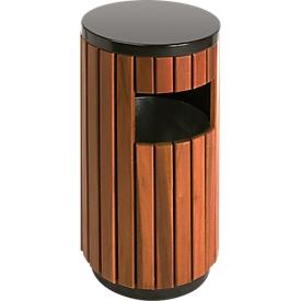 Contenedor de residuos para exteriores de 33 l, redondo, con abertura de inserción lateral