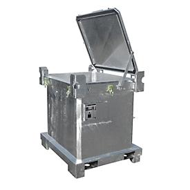 Contenedor para residuos especiales BAUER SAP 450, chapa de acero, galvanizado en caliente, apilable, An 1200 x P 1000 x Al 835mm