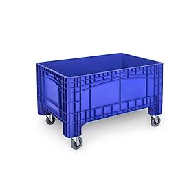 Contenedor de transporte y apilamiento Noah, sin tapa, base y paredes cerradas, volumen 354 l, carga máxima 300 kg, ruedas giratorias y fijas, A 1200 x P 800 x H 730 mm, polietileno alimentario, azul