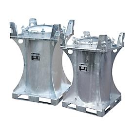 Contenedor para sustancias nocivas BAUER SC 240, chapa de acero, orificio de llenado ø 610mm, An 800 x P 800 x Al 1095mm