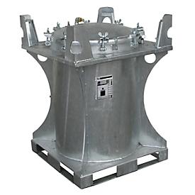 Contenedor para sustancias nocivas BAUER SCD 240, chapa de acero, orificio de llenado ø 610mm, galvanizado en caliente, An 800 x P 800 x Al 1095mm