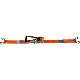 Correa de amarre con trinquete, 50 mm, 2 piezas, con gancho de garra, 8 m