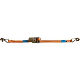 Correa de amarre con trinquete, ancho de correa de 25 mm, 2 piezas con gancho en punta, 4 m