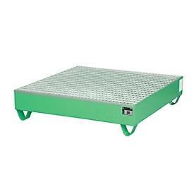 Cubeta colectora de acero con rejilla, 1200 x 1200mm, verde RAL 6011