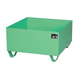 Cubeta colectora de acero sin rejilla, 800 x 800mm, verde RAL 6011