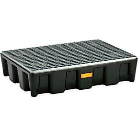 Cubeta de protección de superficies CEMO 60HD, polietileno, volumen de recogida 60 l, rejilla acero galv., con homologación, An 800 x P 600mm x 180mm