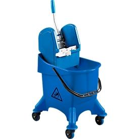 Cubo con ruedas simple Poly I, cubo de 30l, móvil, con prensa de mopa profesional y soporte para palo
