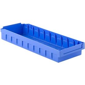 Cubo de estantería RK 500N, poliestireno, L 490 x A 162 x H 63 mm, 10 compartimentos, para estanterías de 500 mm de profundidad, azul