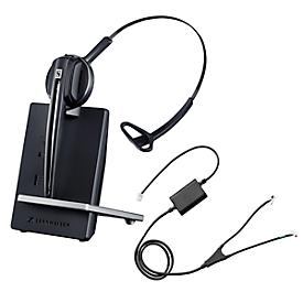 DECT-headset Sennheiser D 10 Phone, snoerloos/monogeluid, met telefoonadapter CEHS-AV04, 55 m bereik