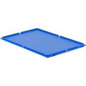deksel, voor Euronorm bakken, zonder haken, blauw