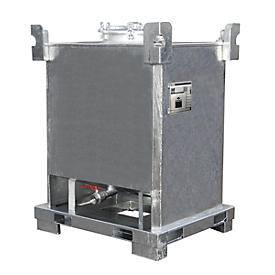 Depósito contenedor BAUER TCB 1000, chapa de acero, drenaje inferior, galvanizado en caliente, An 1000 x P 1200 x Al 1600mm
