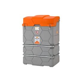 Depósito de aceite usado CUBE, equipo completo, An 1200 x P 800 x Al 1800mm, 1000l, con filtro y escurridor