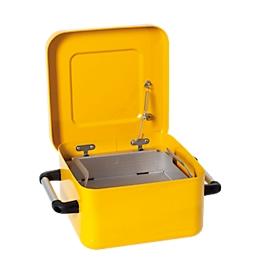 Depósito de inmersión asecos, acero, 8l, tapa con cierre automático, incl. cesto para piezas