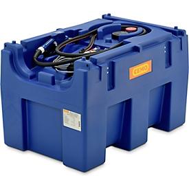 Depósito portátil CEMO Blue-Mobil EASY, con bomba de membrana CEMATIC BLUE 12V, depósito de 430l para AdBlue®, An 1160 x P 760 x Al 730mm
