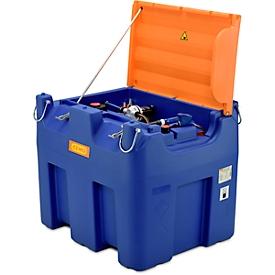 Depósito portátil CEMO Blue-Mobil EASY, con bomba de membrana CEMATIC BLUE 230V, depósito de 980l para AdBlue®, argollas, tapa abatible, An 1720 x P 1070 x Al 1120mm