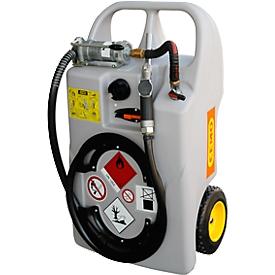 Depósito portátil tipo trolley para gasóleo, 60l, bomba manual, manguera 3m
