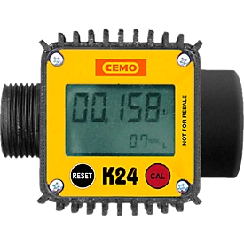 Digitaler Durchflusszähler K24 für mobile Tankstellen CEMO DT-Mobil Easy 430, 460 und 600 l, Durchflussmenge 40 l/min, Kunststoff, schwarz-gelb