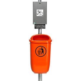 Dispensador de bolsas de basura para perros con cubo de basura de 50 l, incl. tubo vertical y material de fijación, juego