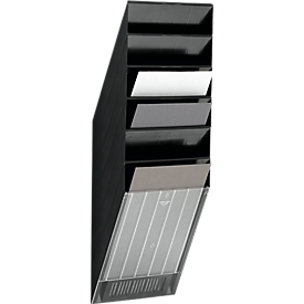 Dispensador de folletos DURABLE Flexiboxx 6, 6 dispensadores, A4, alto, negro