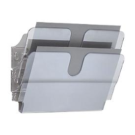 Dispensador de folletos DURABLE Flexiplus, 2 dispensadores, A4, transversal, transparente