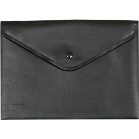 Dokumententasche FolderSys, schwarzer Druckknopfverschluss, Polypropylen, Format A5, schwarz, 10 Stück