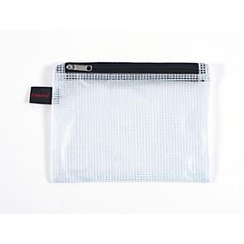 Doppelkammerbeutel FolderSys, A6, 2 Reißverschlüsse, Fingerschlaufe, PVC, schwarz-transp., 10 Stück