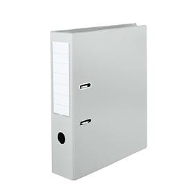 Dossiermap, formaat A4, met verwisselbaar rugetiket & grijpgat, afwasbaar, rugdikte 80 mm, PVC, grijs, 10 stuks