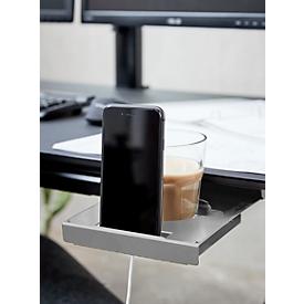 Drank- en gsm-houder, montage onder de tafel, uitschuifbaar, aluminiumkleurig, L 296 x B 174 x H 24 mm.