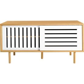 Dressoir Stripe, eiken fineer, schuifdeuren wit, met houten poten, B 1350 x D 450 x H 650 mm.