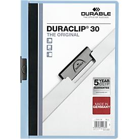 DURABLE Klemmmappe DURACLIP, DIN A4, Kunststoff, mit Clip, hellblau