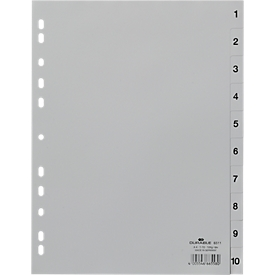 DURABLE kunststof indexbladen, A4 staand, cijfers 1-10, grijs