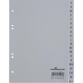 DURABLE kunststof indexbladen, A5 staand, letters A-Z (20 vakken), grijs