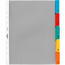 DURABLE PP-Hüllenregister überbreit, 5 Blätter, farbige Taben