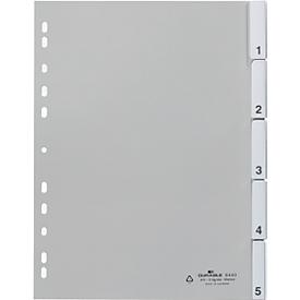 DURABLE PP-indexbladen met verwisselbare tabs, cijfers 1-5, grijs