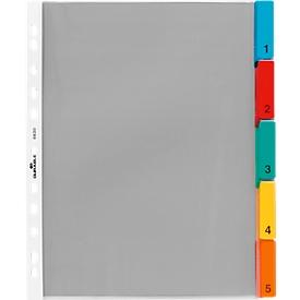 DURABLE PP-indexhoezen extra breed, 5 bladen, gekleurde tabs