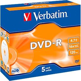 DVD-R de Verbatim®, hasta 16 veces, 4,7 GB/120 min, juego de 5 JewelCase