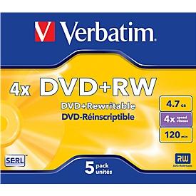 DVD+RW, 4,7 GB, 5 Jewelcases