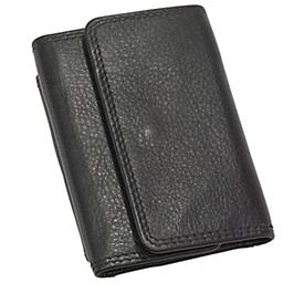 Echtleder-Geldbörse, Schwarz, Standard, Auswahl Werbeanbringung erforderlich