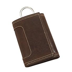 Echtleder-Schlüsseletui, Braun, Standard, Auswahl Werbeanbringung erforderlich