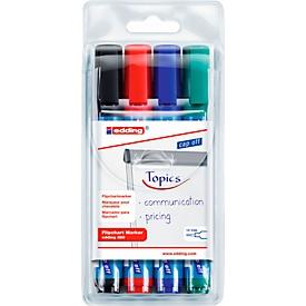 edding 380 flipchartmarker, ronde punt, diverse kleuren, set van 4